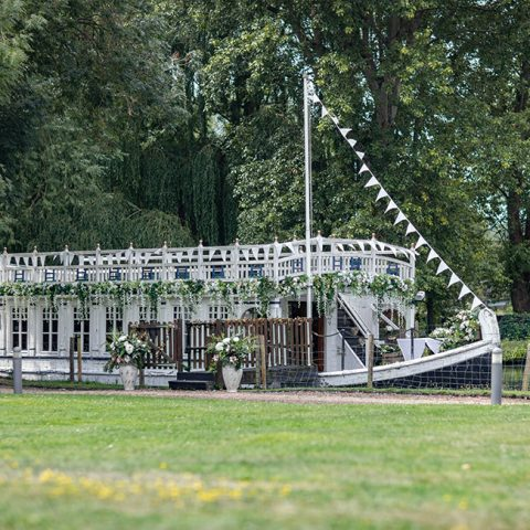 The barge decorated for a wedding