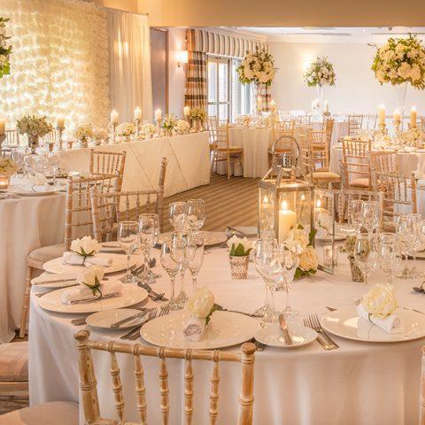 Wedding breakfast room set up for dining