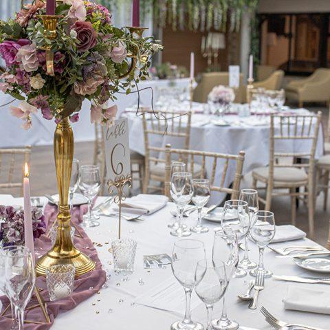 A table setting wedding breakfast