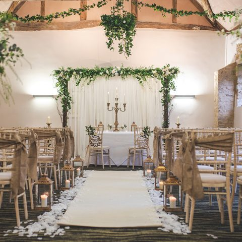Ceremony room decorated for a wedding