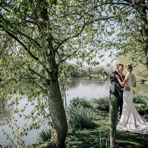 Photos by the river after getting married