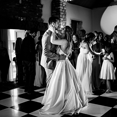 A couple on the dance floor having their first dance