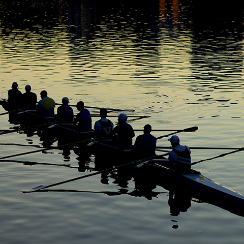 Rowing boat race on the Thames in Oxford